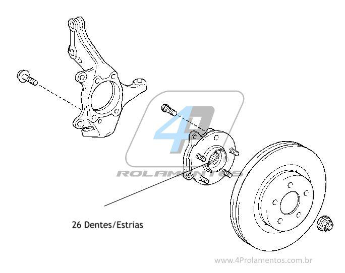 Cubo de Roda Dianteira TOYOTA RAV4 2013 até 2018, 2.0L