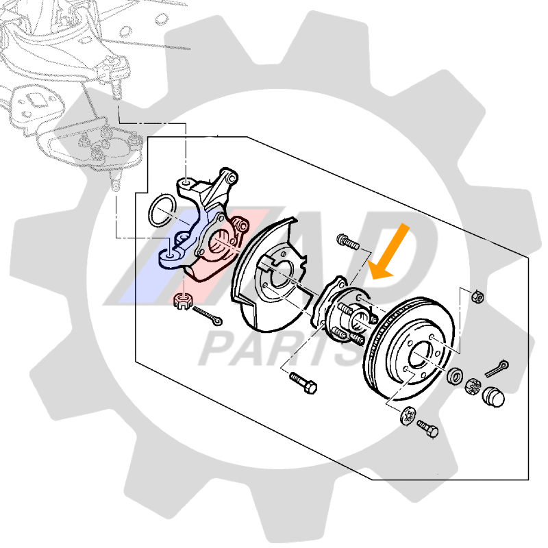 Cubo de Roda Dianteira TROLLER T4, 5 furos, 1996 até 2001