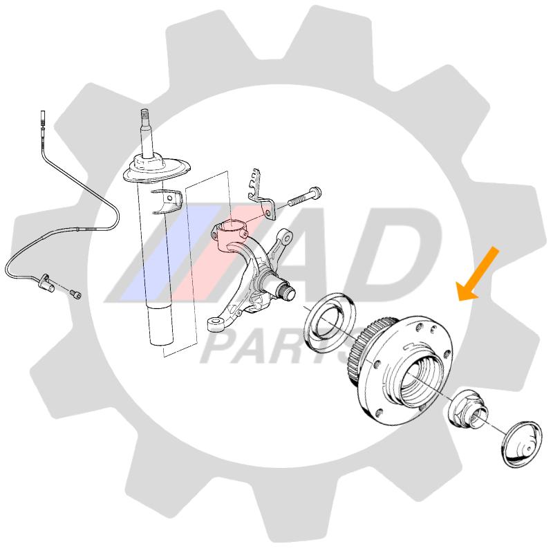 Cubo de Roda Dianteiro FORD Mustang 2005 até 2014, com ABS