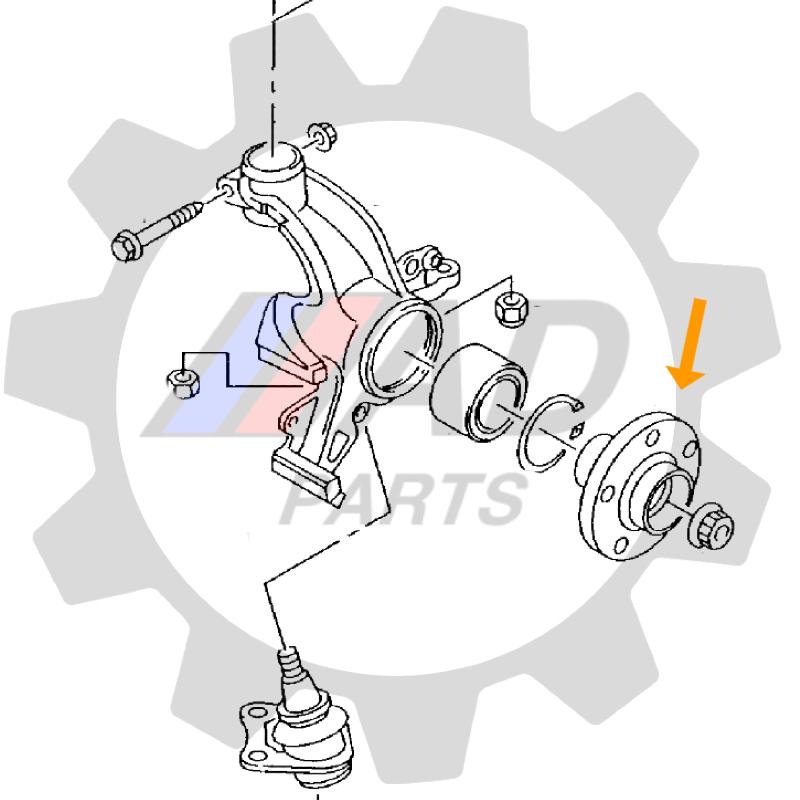 Cubo de Roda dianteiro VW Polo Classic 1996 até 2002, sem ABS
