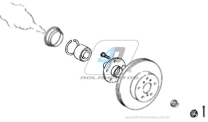 Cubo de Roda e Rolamento Dianteiro TOYOTA Camry 1992 até 2003