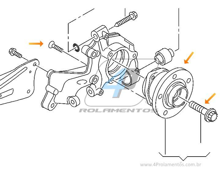 Cubo de Roda Traseira AUDI A3 Quattro 2013 até 2018, ABS