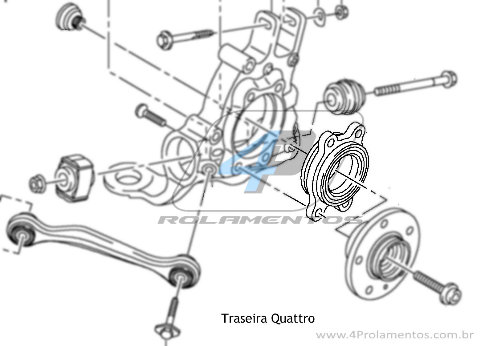 Cubo de Roda Traseira AUDI A4 Quattro 2009 até 2015