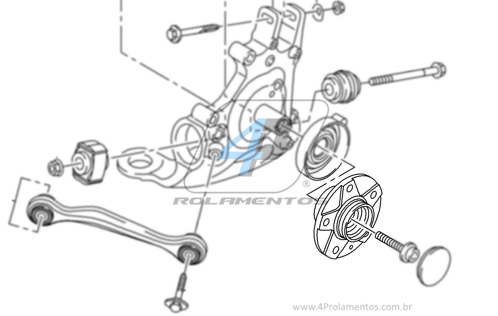 Cubo de Roda Traseira AUDI A5 2008 até 2017(FWD), com ABS