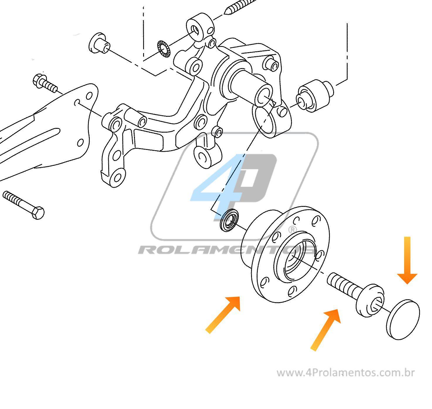 Cubo de Roda Traseira AUDI TT 2007 até 2018, FWD, com ABS