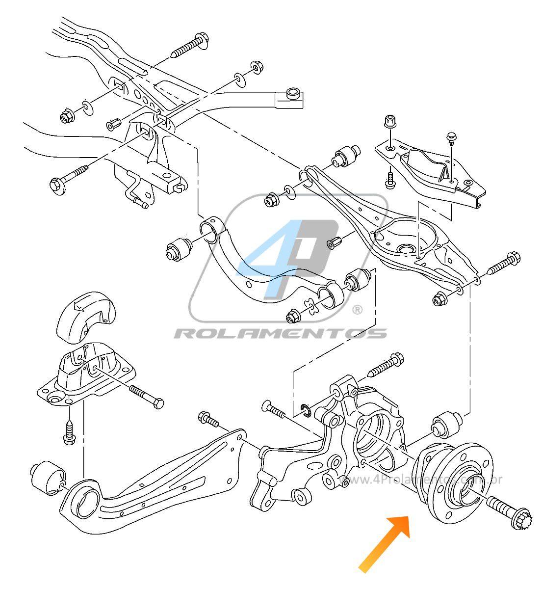 Cubo de Roda Traseira AUDI TT Quattro 2007 até 2014