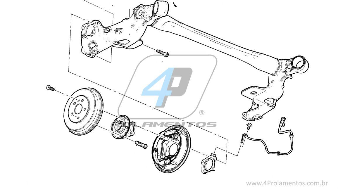 Cubo de Roda Traseira CHEVROLET Tracker 2013 até 2016 com ABS