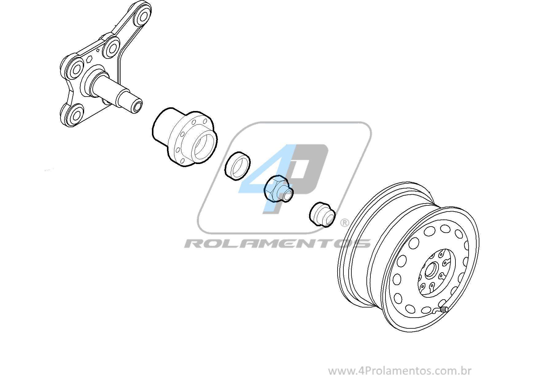 Cubo de Roda Traseira FIAT 500 2009 até 2018 com ABS