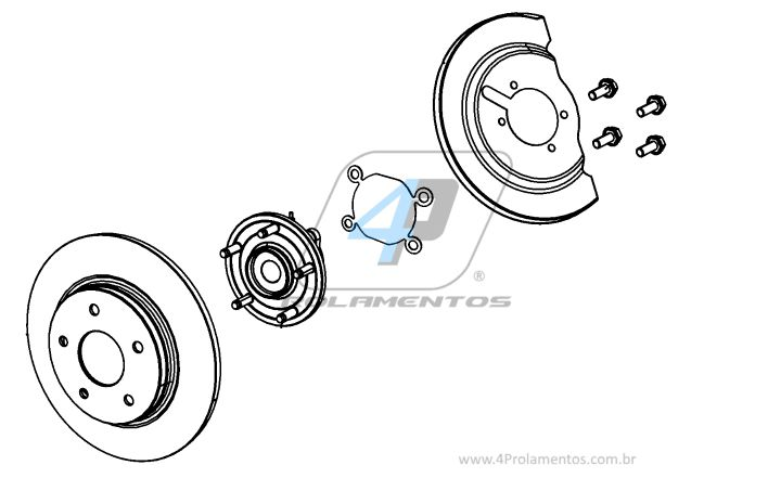 Cubo de Roda Traseira FIAT Freemont 2011 até 2017, Esquerdo