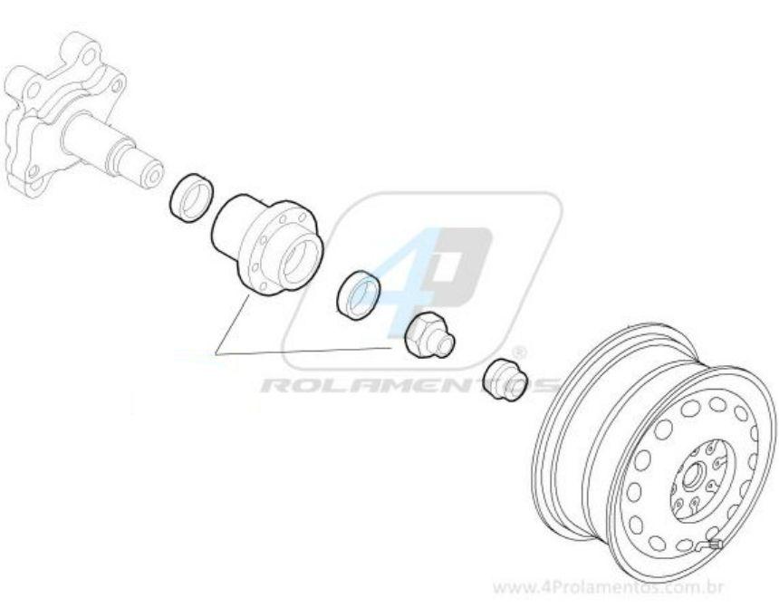 Cubo de Roda Traseira FIAT Novo Palio 2012 até 2014, sem ABS