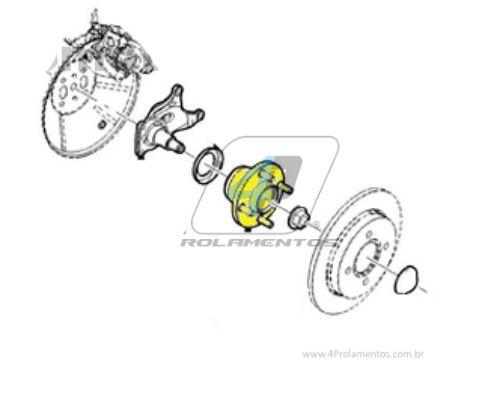 Cubo de Roda Traseira FORD Focus 2001 até 2008, sem ABS