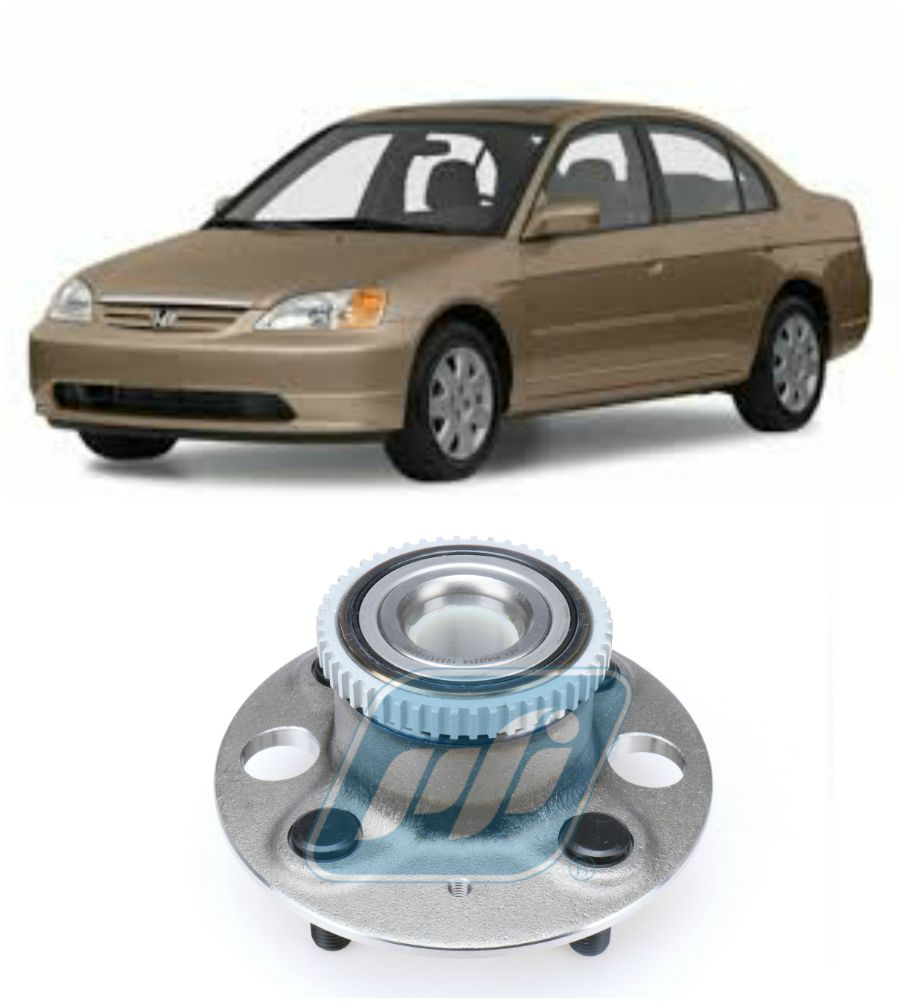 Cubo de Roda Traseira HONDA Civic 2001 até 2005, freio a Disco com ABS