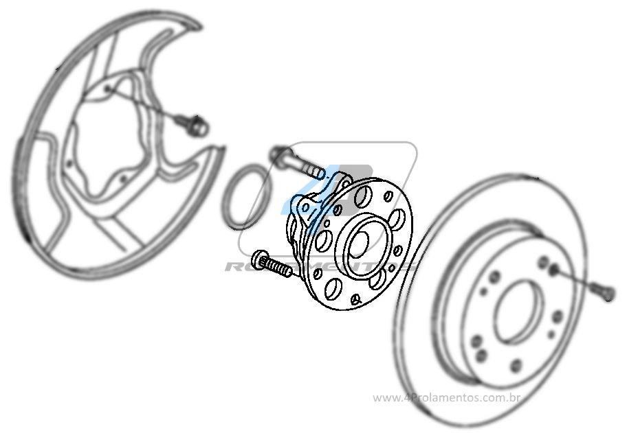 Cubo de Roda Traseira HONDA Civic 2006 até 2012, com Freio a Disco e ABS