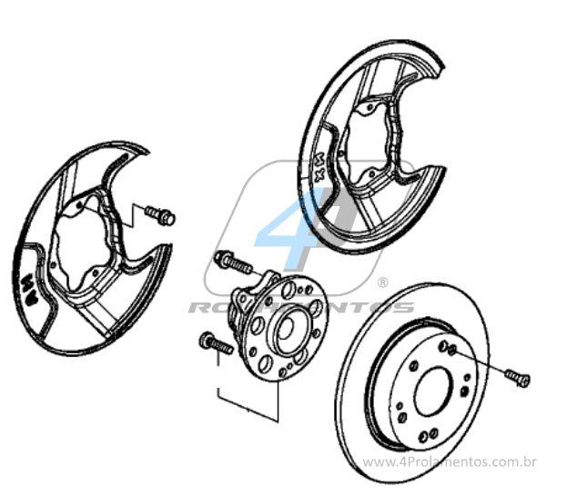 Cubo de Roda Traseira HONDA Civic 2013 até 2016, com ABS