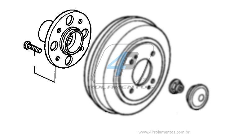 Cubo de Roda Traseira HONDA Fit 2002 até 2008, freio a tambor e sem ABS.