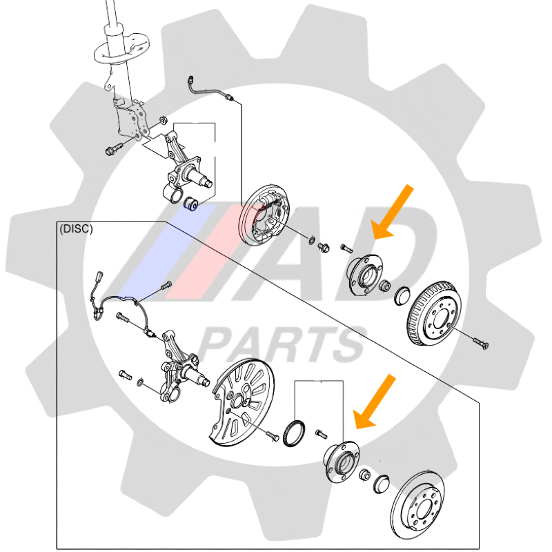 Cubo de Roda Traseira HONDA Fit, 2002 até 2008, com ABS e Freio a Tambor