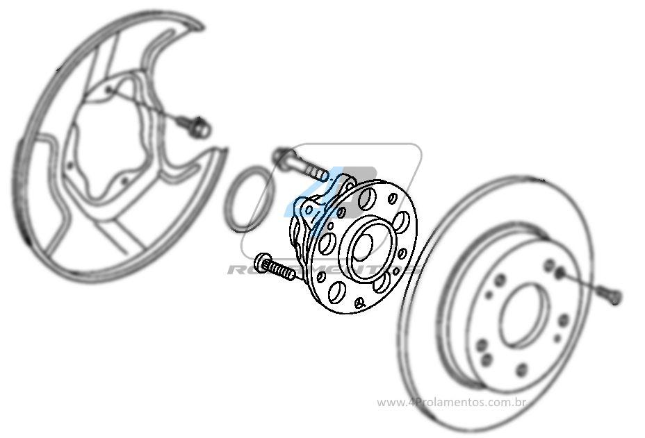 Cubo de Roda Traseira HONDA New Civic 2006 até 2012, com Freio a Disco e ABS