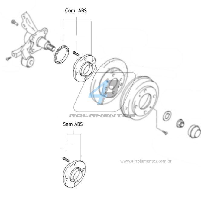 Cubo de Roda Traseira HYUNDAI Elantra 2001 até 2006, com ABS