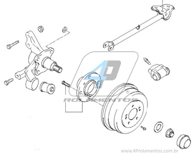 Cubo de Roda Traseira HYUNDAI Elantra 2001 até 2006, freio a tambor, sem ABS