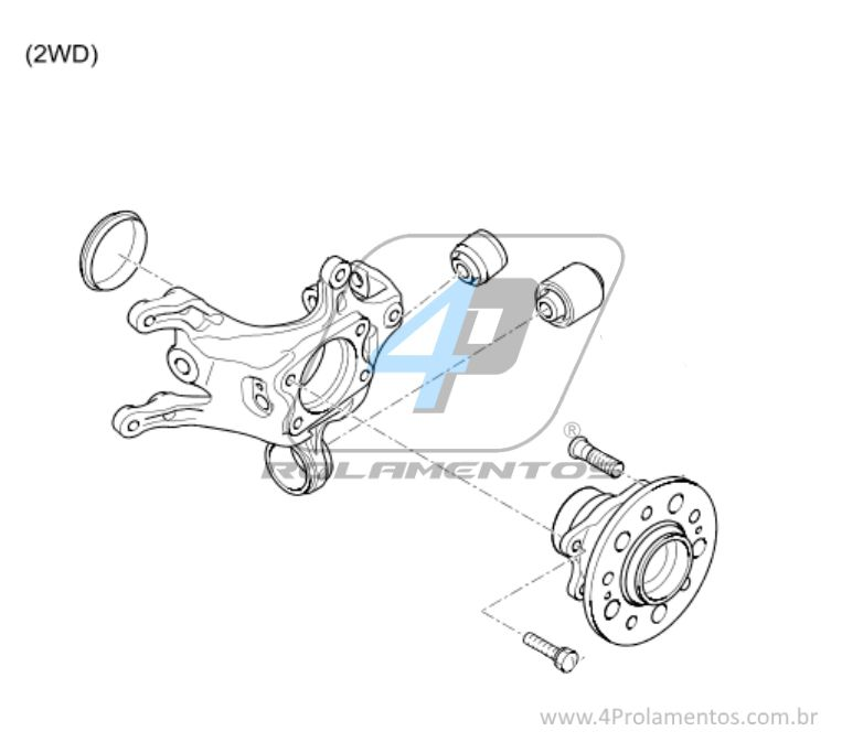 Cubo de Roda Traseira KIA Cadenza 2014 até 2015, com ABS
