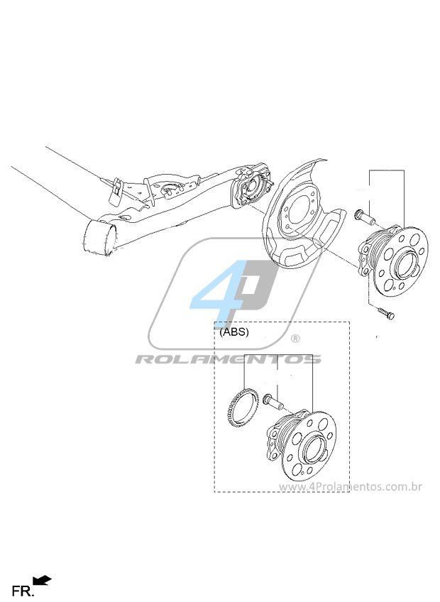 Cubo de Roda Traseira KIA Picanto 2012 até 2017 com ABS