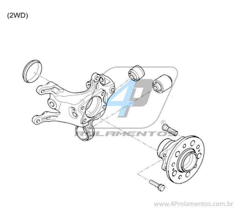 Cubo de Roda Traseira KIA Sportage 2010 até 2015, FWD, com ABS