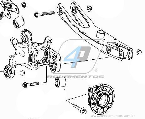 Cubo de Roda Traseira MERCEDES BENZ GLA, 4Matic, 2012 até 2018, AWD