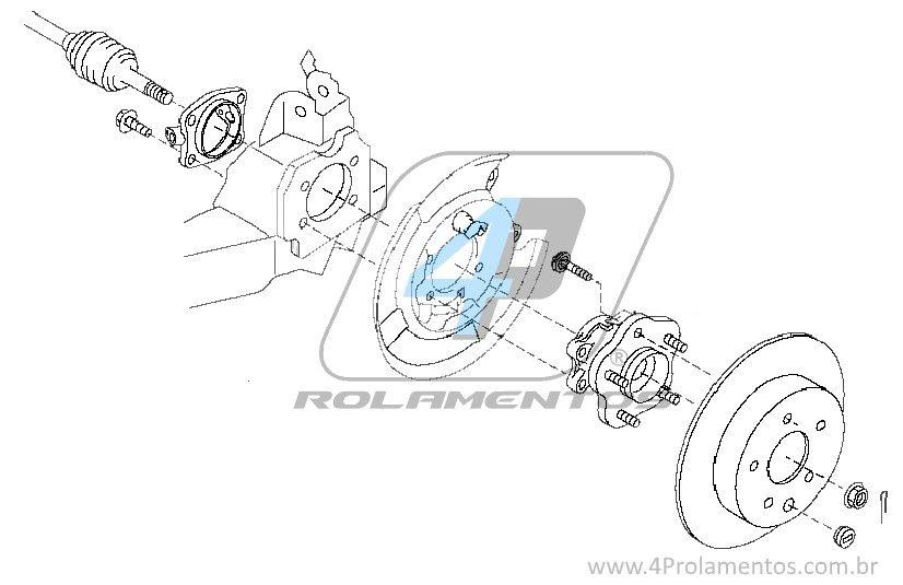 Cubo de Roda Traseira NISSAN Rogue 2008 até 2014 4x4 (4WD)