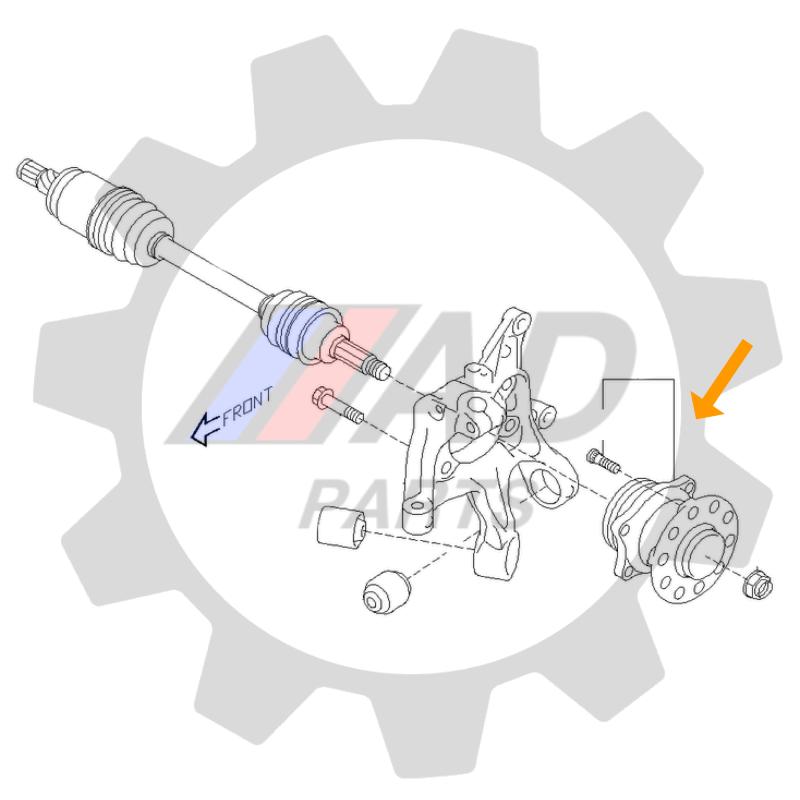 Cubo de Roda Traseira SUBARU XV 2012 até 2017 AWD, com ABS
