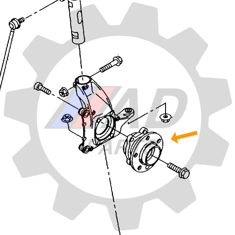 Cubo de Roda Traseira TOYOTA Corolla 2003 até 2008, sem ABS