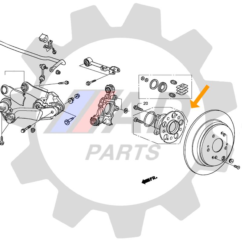 Cubo de Roda Traseira TOYOTA Corolla 2009 até 2015 com ABS