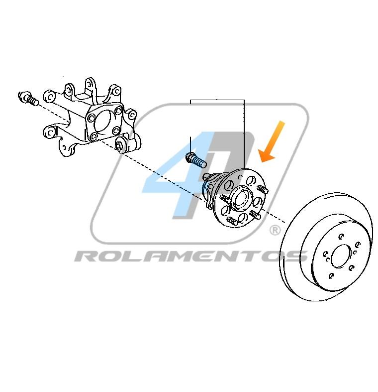 Cubo de Roda Traseira TOYOTA Prius 2010 até 2015, com ABS