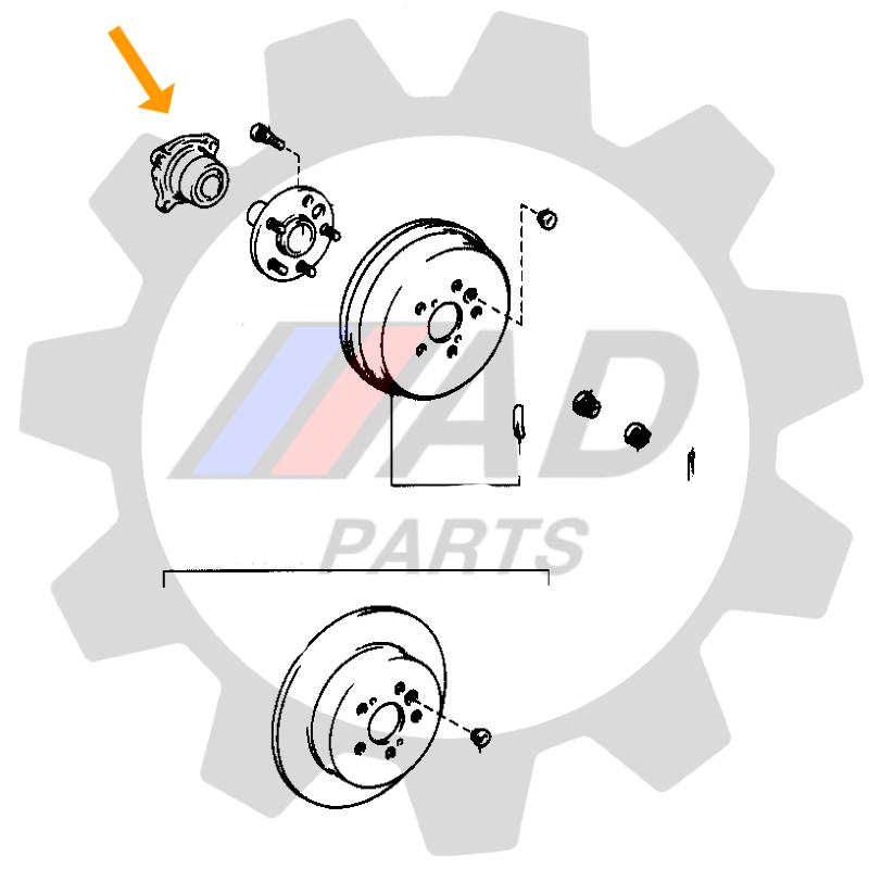 Cubo de Roda Traseira TOYOTA RAV4 1994 até 2000, 4x4.