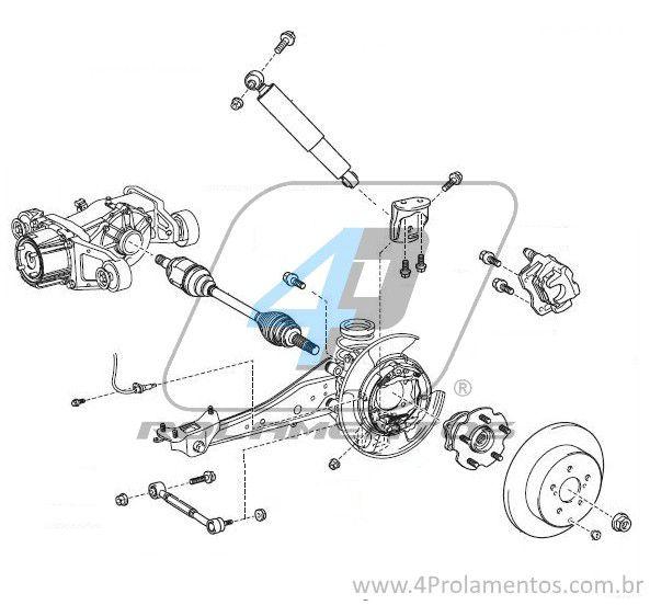 Cubo de Roda Traseira TOYOTA RAV4 2001 até 2005, 4x4.