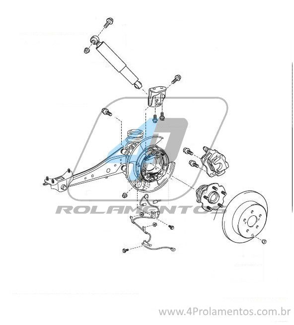 Cubo de roda Traseira TOYOTA RAV4 (4x2) 2006 até 2018, com ABS