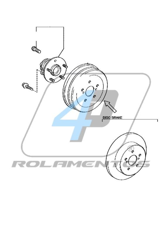 Cubo de Roda Traseira TOYOTA Yaris 2018 até 2021