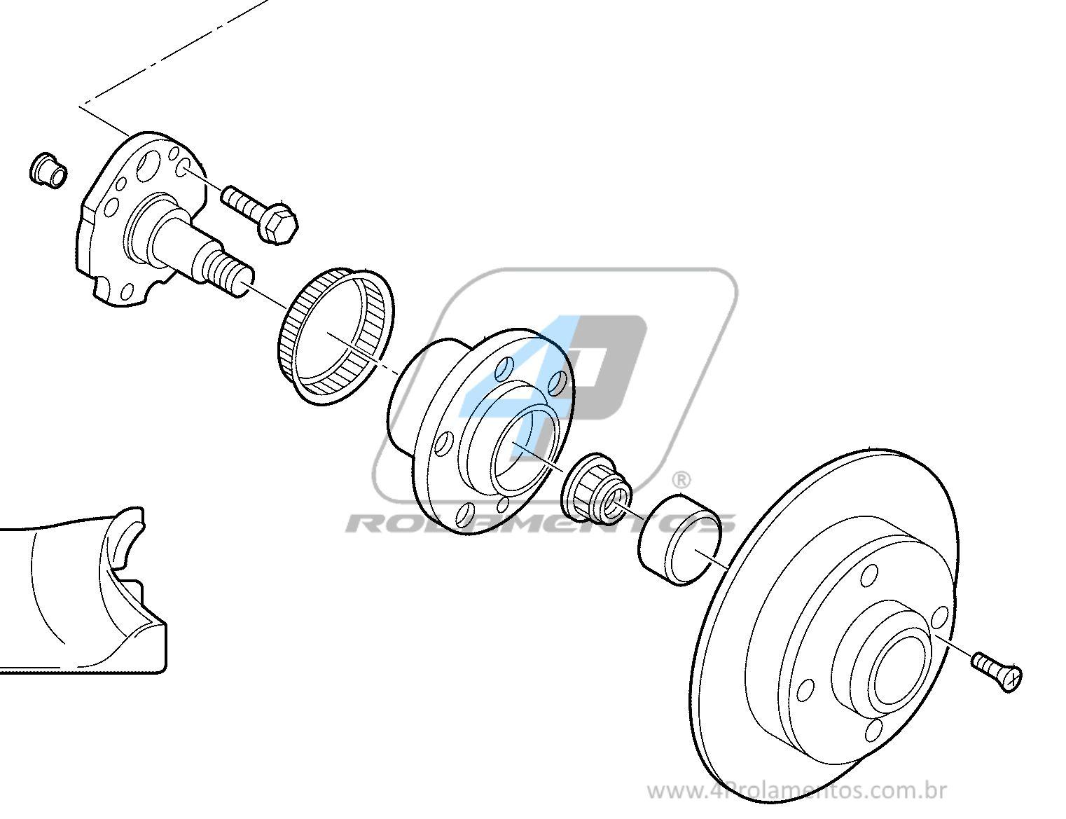 Cubo de Roda Traseira VW Bora 2001 até 2010