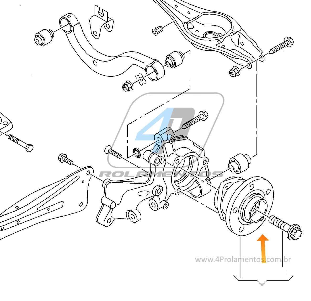 Cubo de Roda Traseira VW Passat Variant (4motion), AWD, 2015 até 2017, com ABS