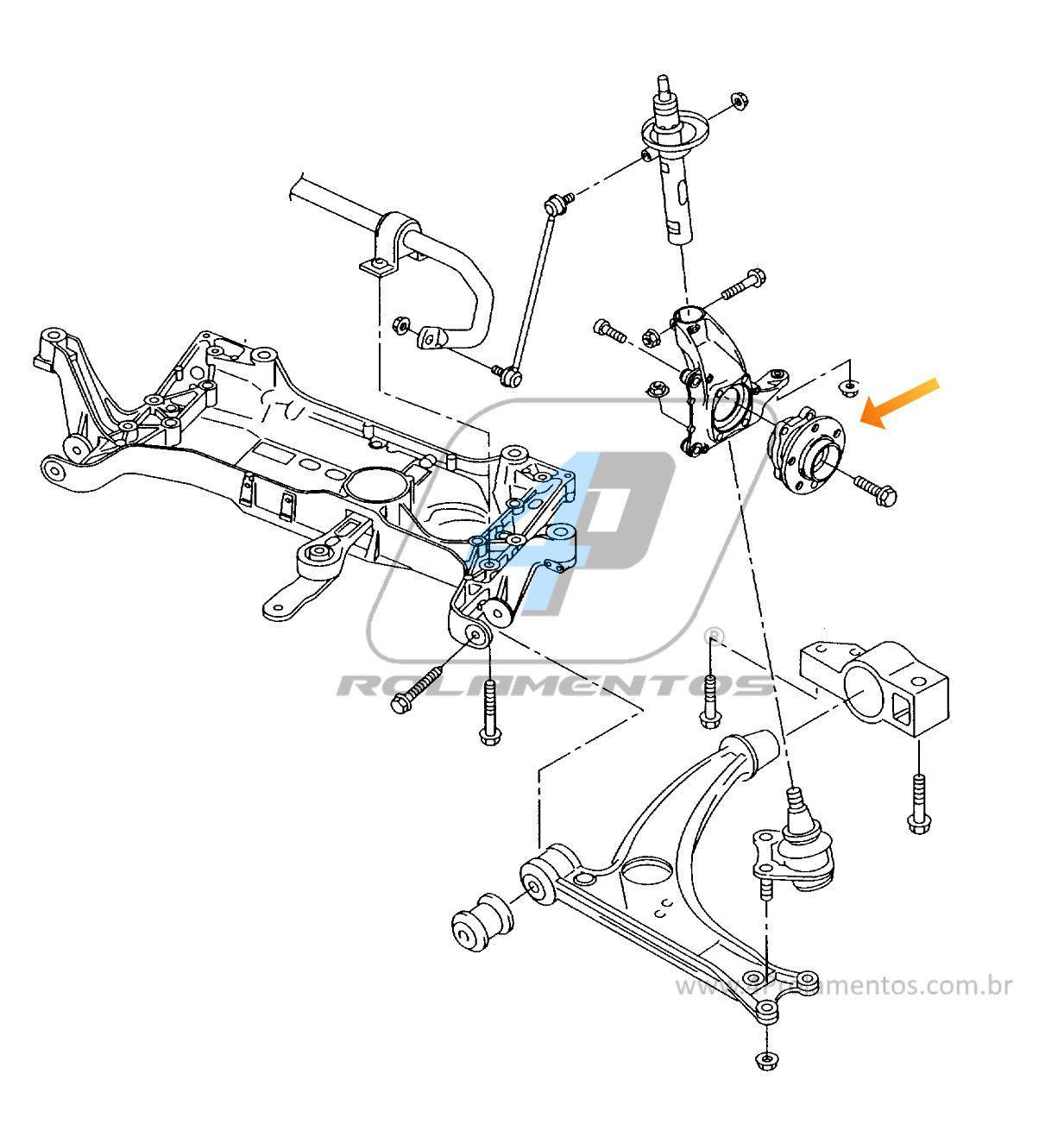 Cubo de Roda traseira VW Tiguan 4Motion de 2007 até 2018