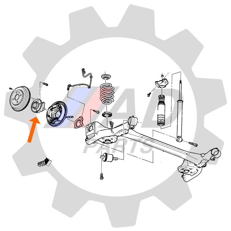 Cubo Roda Traseira CHEVROLET Onix 2013 até 2017, com ABS