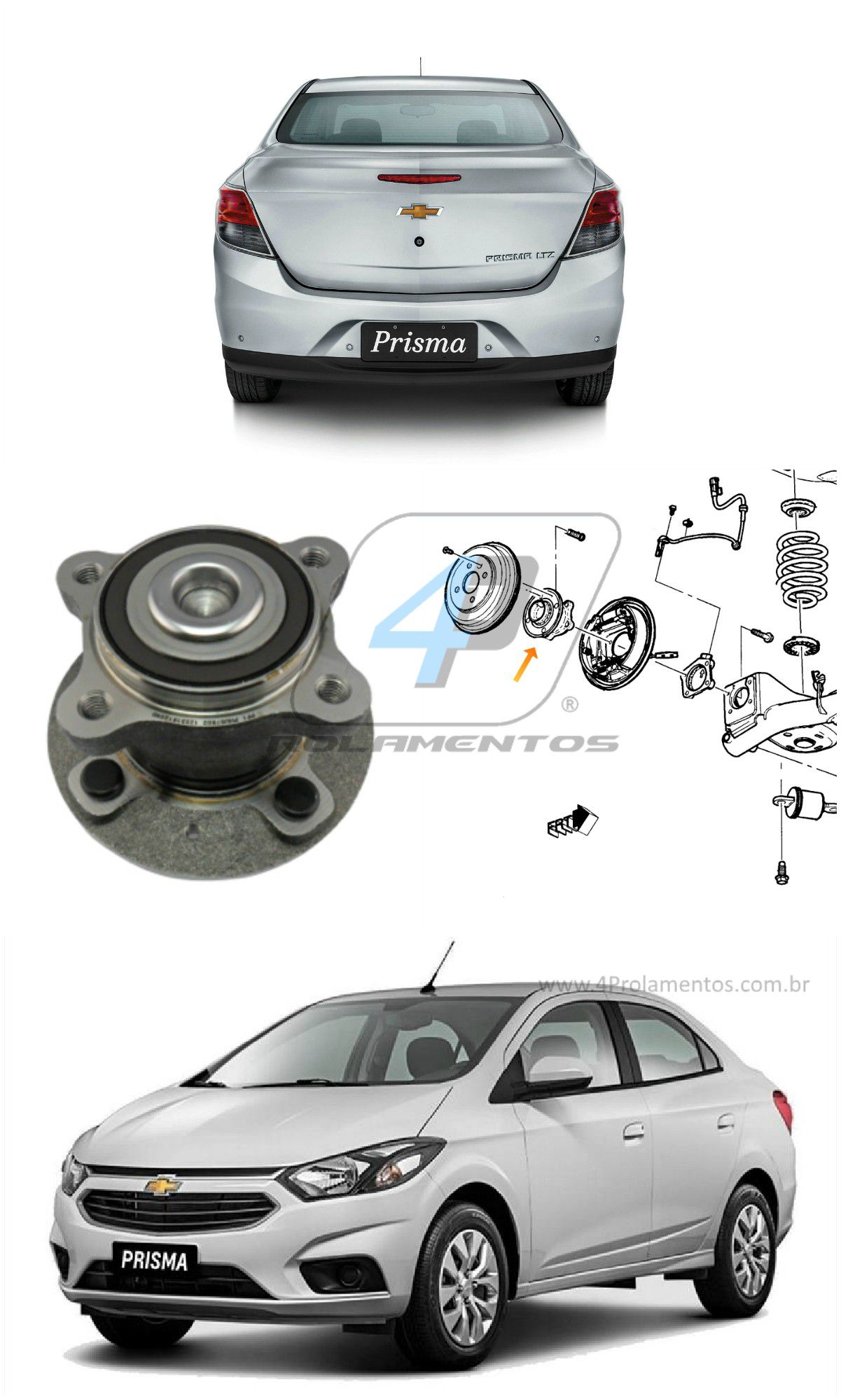 Cubo Roda Traseira CHEVROLET Prisma 2013 até 2017, com ABS