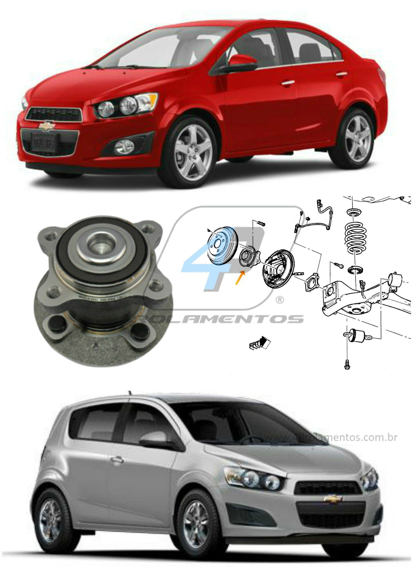 Cubo Roda Traseira CHEVROLET Sonic 2012-2014,  com ABS