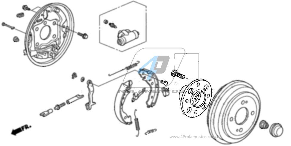Cubo Roda Traseira HONDA Fit 2009-2013, Freio a tambor e ABS