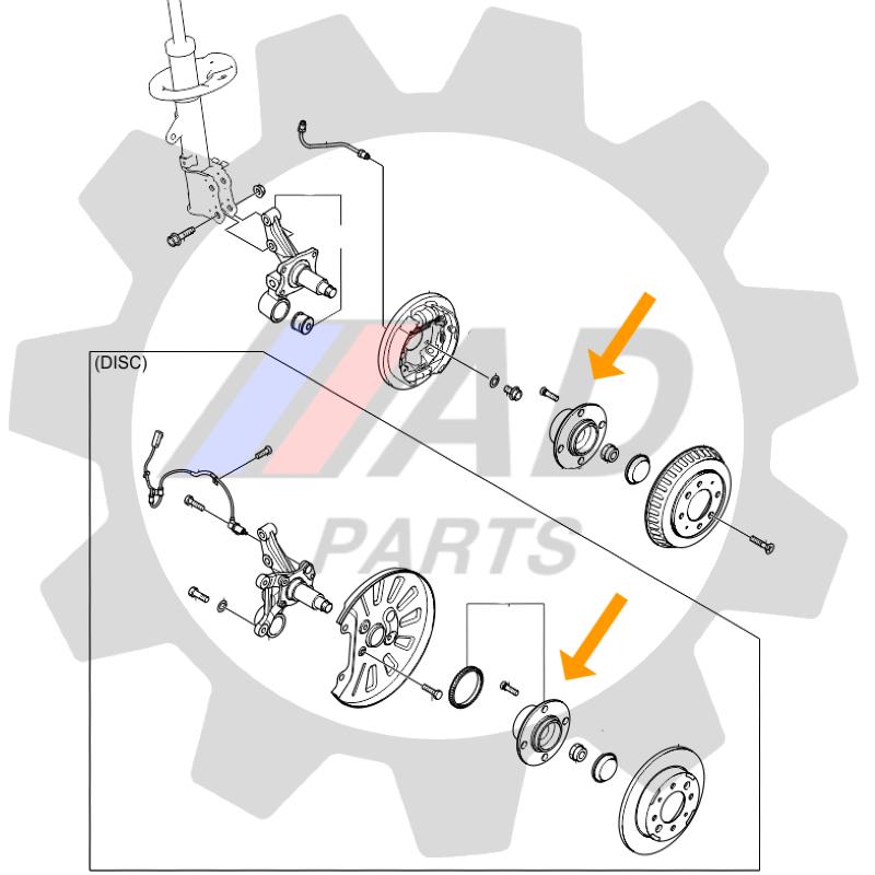Cubo Roda Traseira HONDA Fit 2009 até 2013, Freio a tambor e ABS