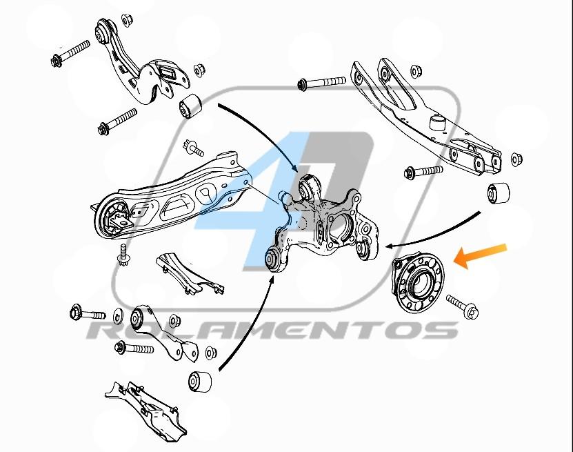 Cubo Roda Traseira Mercedes Benz GLA 2013 até 2018, 4Matic, com ABS