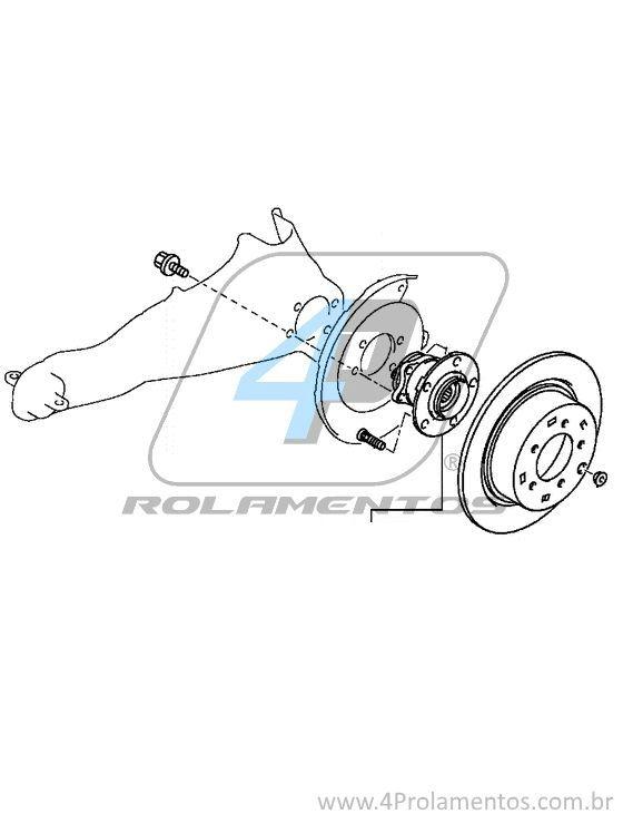 Cubo Roda Traseira MITSUBISHI Lancer GT 2012 até 2016, 4x4, com ABS