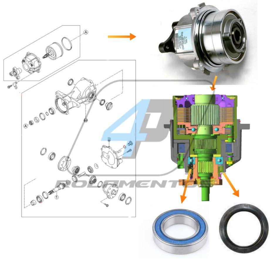 Kit Reparo Acoplamento Diferencial Traseiro Kia Sportage 2004 até 2010
