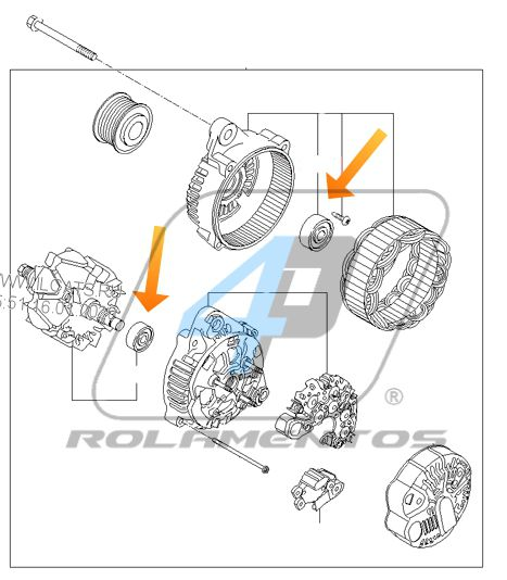 Rolamento de Alternador Kia Cerato Koup 2011 até 2012