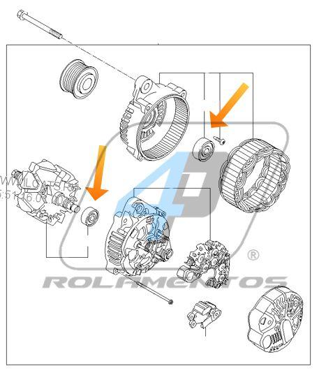 Rolamento de Alternador Kia Sportage 2010 até 2015