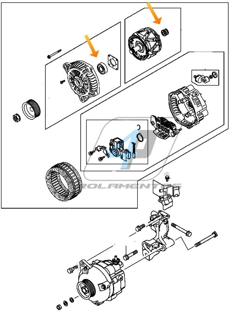 Rolamento de Alternador Nissan X-Trail de 2002 até 2008
